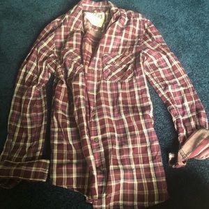 Garage button up plaid shirt